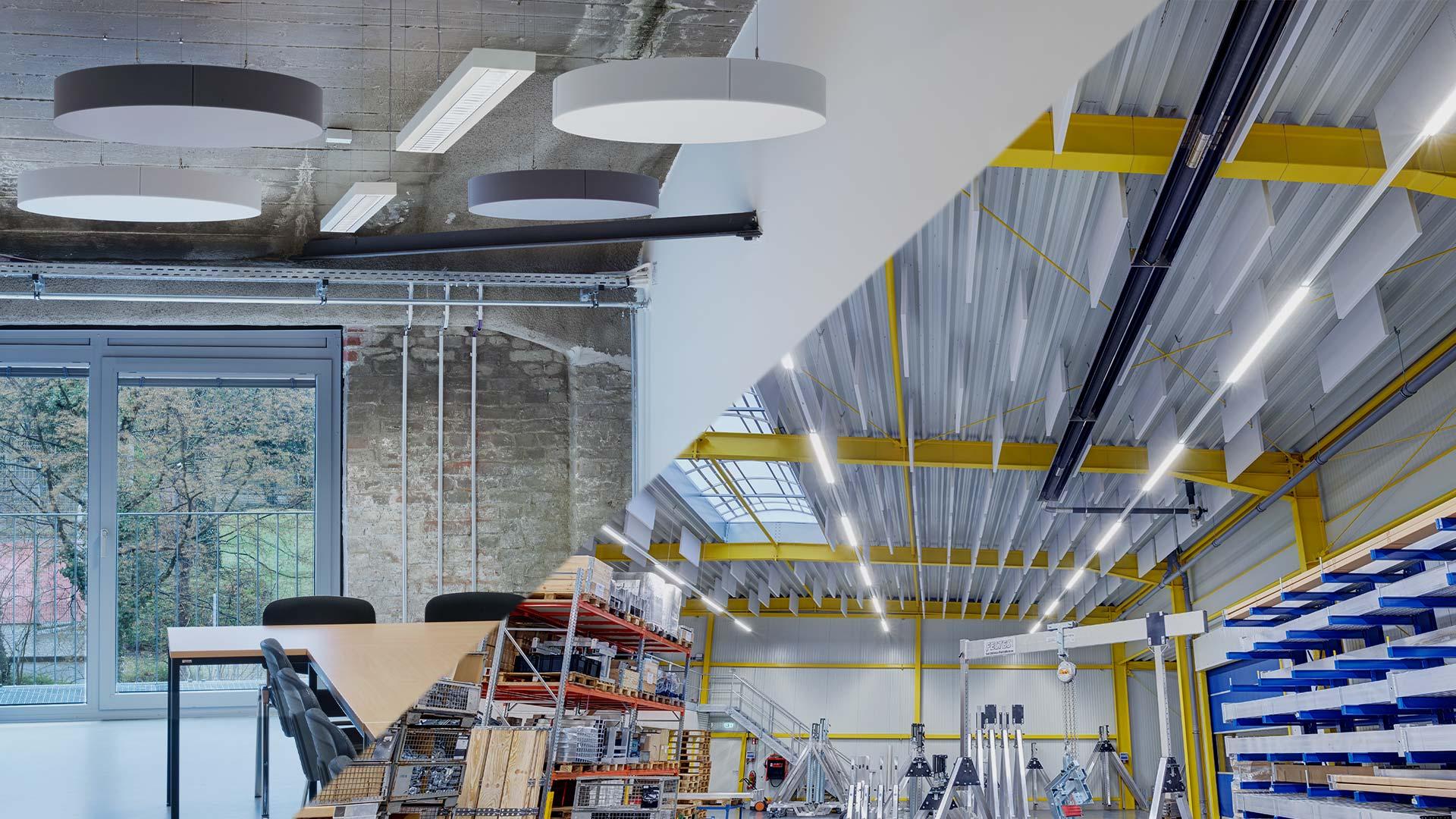 aixFOAM Premium ljudabsorbenter i kontor och industrihallar
